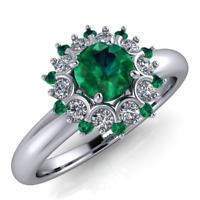 Anello in oro 18Kt Smeraldi e Diamanti taglio Brillante F/VS1 totale ct. 0,51!