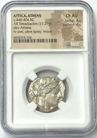 Attica Athens Owls 440-404 BC Silver Tetradrachm NGC CHAU Hand Stuck- Authentic