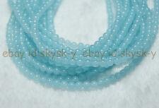 "Light Blue Aquamarine 4mm Brazilian Natural Gems Round Loose Beads 15"" Strand"