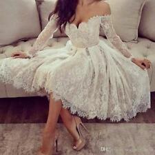 Long Sleeve Off Shoulder Lace Applique Short Wedding Dresses Bridal Gowns Custom