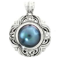 Rose Champagne Mabe Cultured Pearl 925 Sterling Silver Pendant 1 1//8