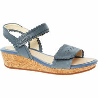 CLARKS ORIGINALS Girl's  Blue Leather Sandals Size: Jun 1 (eu34), new