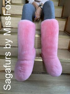 Rex rabbit pink double side fur boots with pompons