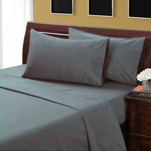 Queen Grey Solid 4 Pieces Bed Sheet Set 1000 Thread Count 100% Egyption Cotton
