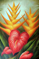 Hawaii Tropical Flowers Bold Red Orange 24X36 Garden Oil Painting STRETCHED