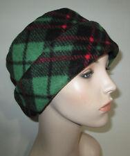 Green Plaid  Anti Pill FleeceCancer Pillbox Chemo Alopecia Warm Winter Hat
