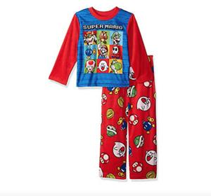 Super Mario Boys Long Sleeve 2 Piece Fleece Pajama Set Size 4