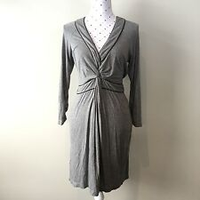 BCBG Maxazria Soft Jersey Long Sleeves Ruched Dress Grey Size S
