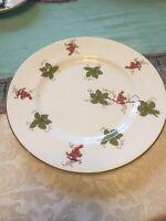 "Royal Victoria Fine Bone China 8"" Salad Dessert Plate Grapes & Leaves Gold Trim"