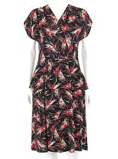 Vtg COUTURE c.1940's Black & Maroon Floral Print Rayon Crepe Peplum Day Dress