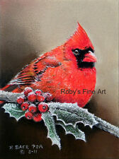 Northern Cardinal Male Art Print 5x7 Giclee Image by Realism Artist Roby Baer