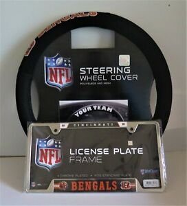 CINCINNATI BENGALS SUEDE AND MESH STEERING WHEEL COVER AND LICENSE PLATE FRAME