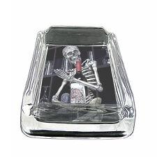 "Skeletons D15 Glass Square Ashtray 4"" x 3"" Smoking Cigarettes Skulls Death"