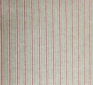 """Yale Ticking Stripe Red & Beige Linen 280cm/108"""" Wide Curtain Fabric"""
