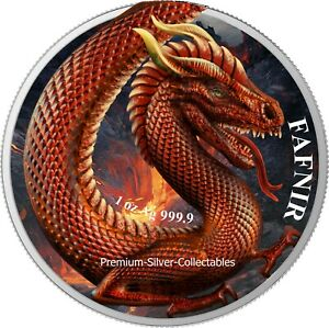 2020 Germany's  Germania Beast Fafnir Dragon 1 Ounce Pure Silver Colorized Coin