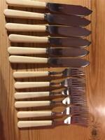 6 x Vintage Silver Plated Fish Knives & Forks with Faux Bone Handles