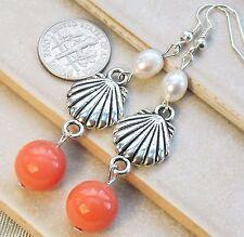 "Coral Pink Enamel Bead Genuine Pearl Shell Earrings 2.8"" Long   South Sea"