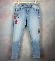 Mavi Women's Skinny Jeans Size 25 Embroidered Flowers Mid Rise