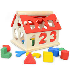 House Intellectual Wood Educational Baby Toys Kids Building Developmental Blocks