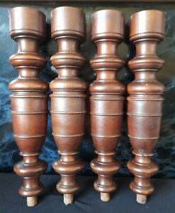 A BEAUTIFUL SET OF 4 ANTIQUE FRENCH TURNED WALNUT COLUMNS / LEGS c1900