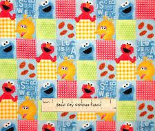 "Sesame Street Character Elmo Cookie Bird Oscar Block Cotton Fabric SPX - 12"""