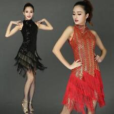 Womens Dancing Costume  Tassel Sequin Ballroom Latin Salsa Dance Dresses