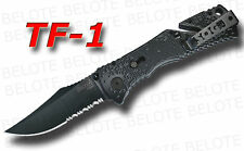 S.O.G. SOG Black TiNi Trident Folder Serrated TF-1 NEW