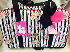 NEW! BETSEY JOHNSON FLORAL STRIPE ROSES QUILTED WEEKENDER LUGGAGE TOTE BAG PINK