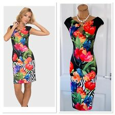 JOSEPH RIBKOFF Floral Stretchy Bodycon Dress Uk Size 12