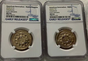 2020 P & D AMERICAN INNOVATION Massachusetts~Telephone NGC MS65 Early Both Coins
