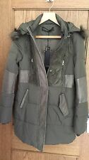 Supertrash khaki Onyx faux fur hooded parka coat size 40