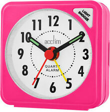 Acctim Ingot Pink Quartz Pocket Travel Desk Snooze Alarm Clock Light 12580 New