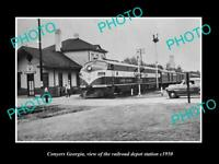 OLD 8x6 HISTORIC PHOTO OF CONYERS GEORGIA THE RAILROAD DEPOT STATION c1950