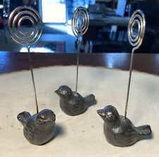 """CUTE!! Set of 3 Solid Cast Iron Bird Picture/Place Card Holders! 2"""" x 1.25"""" Each"""