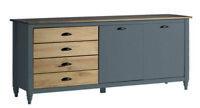 Sideboard Pinie teilmassiv Grau mit Schubladen Kommode Anrichte 150x82x40 cm