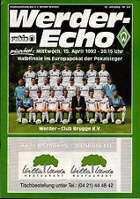 CWC - EC II Semi Final 91/92 SV Werder Bremen - Club Brugge K.V., 15.04.1992
