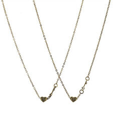 Lux Accessories burnished Gold BF Best Friend Heart Mini Charm Necklace Set 2pcs