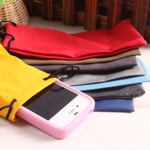 2Pcs Closed Phone Bag Glasses Bag Solid Portable Soft Bag Color Random