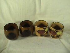 Otagiri Original Hand Crafted Set Of Four Tea Sake Cups Owl And Flower Motif