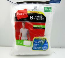 NEW Hanes XL 6 Tagless ComfortSoft V-Neck T Shirts Undershirt 777VP6 White Men's