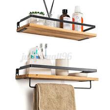 Rustic Floating Shelves Wall Mounted Kitchen Bedroom Storage Shelf Metal Frame