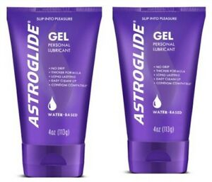 2 Pack - Astroglide Water-Based Personal Lubricant Gel Easy Cleanup, 4 oz Each