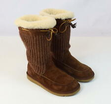 UGG AUSTRALIA Luxe Plush Shearling Fur Sheep Skin Leather Knit Boots Womens 8