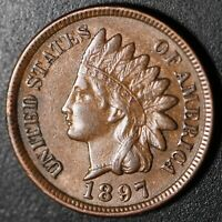 1897 INDIAN HEAD CENT - AU UNC -With REPUNCHED DATE *SNOW-8* 3 STAR VARIETY! RPD