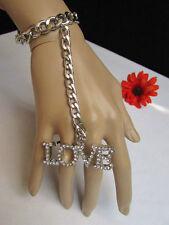 Sexy Women Silver Metal Hand Chain Love Rhinestones Slave Bracelet Ring 2 Finger