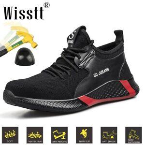 Men's Steel Toe Black Sneakers Work Safety Shoes Running Waterproof Ankle Boots
