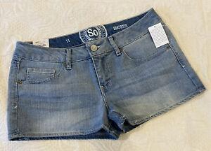 SO Shortie Denim Jeans Shorts Medium Wash Stretch Low Rise Size 11