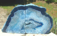 Agate Geode Blue Bookends-Exc Colors-Great Patterns-5 lb 3 ounces-Free Shipping