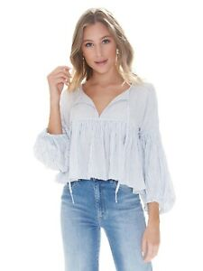 Free People Size Medium Striped Top Blouse Boho Festival Cropped Beaumont Mews M