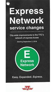 2018 Collectible TTC Express Service Map Maps Toronto Downtown Bus